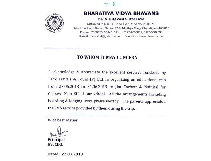 Bhavan Vidyalaya – 28 Years of Association