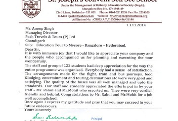 Appreciation where destination was Bangalore - Mysore - Ooty - Hyderabad