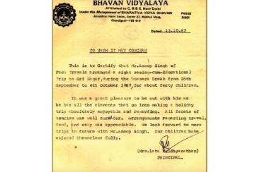 Bhavan Vidyalaya - 28 Years of Association
